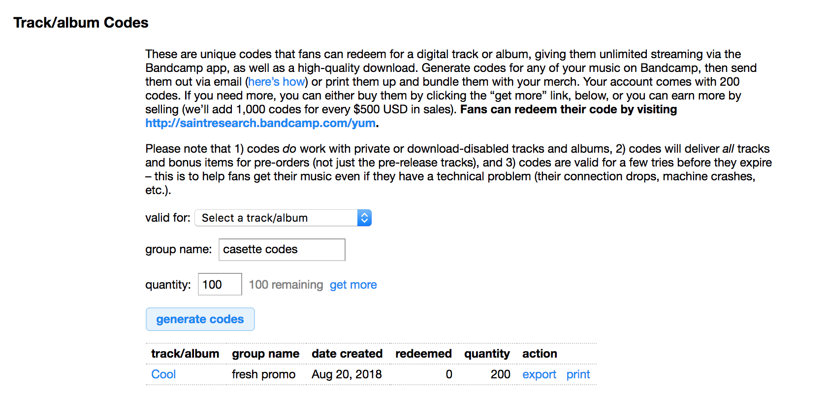 Track/album code tutorial – Bandcamp Help Center